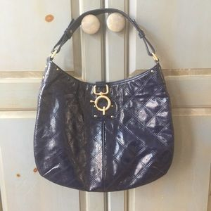 Quilted Patent Leather Quincy Hobo in Bright Blue